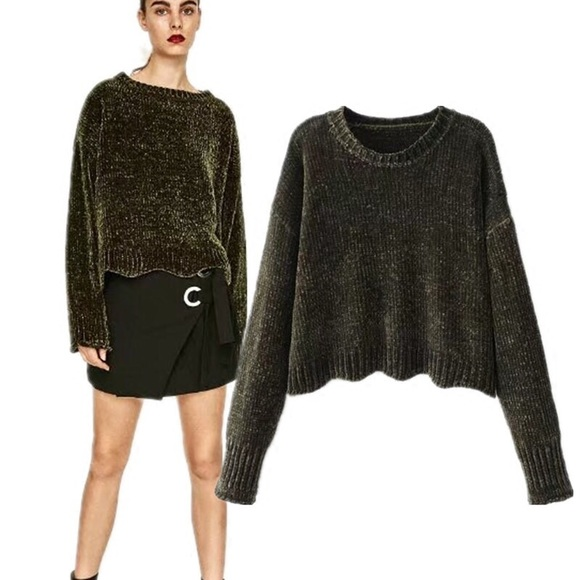 16579f46 Zara Dark Olive Green Chunky Knit Chenille Sweater.  M_5b472436c2e9fe487b644bc1